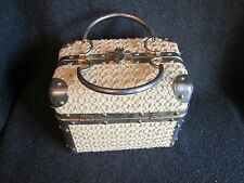 Vintage 1950's Delill Gold Tan Wicker Train Case Box Purse Handbag Pocketbook