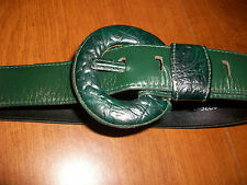 """Green Leather Belt  1.5 """" Wide Round Buckle VTG 80's Omega 24-28 Inch Useable SM"""