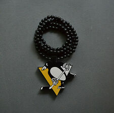 """Good Quality Pittsburgh Penguins Pendant Wood Chain Necklace HOCKEY NHL 36"""" New"""