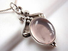 Rose Quartz Accented Pendant 925 Sterling Silver Ethnic Tribal Style New