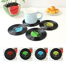 4Pcs Creative Vinyl Record Cup Bar Drinks Coasters Holder Mat Placemat Tableware