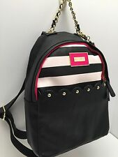 BETSEY JOHNSON Backpack*Black White Stripe Gold Chain Shoulder Bag $98