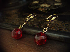 Vintage Ruby Red Faceted Glass Bead Drop Gold Plated Hook Pierced Earrings