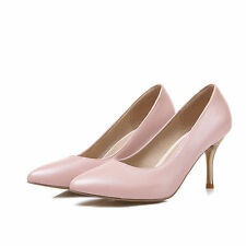 Womens Pump Shoes Stiletto High Heel Synthetic Leather Pointed Toe Shoes Plus Sz