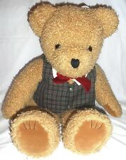 Large JC Penney Christmas Holiday Stuffed Bear with Vest BowTie 25 inch Plush