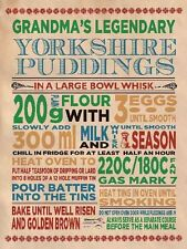 Grandma's Yorkshire pudding receta-asado de vacuno-Pared Arte Cartel Placa de Metal 763