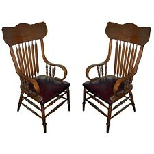 Pair of Oak Arrow Back Arm Chairs with Burgundy Leather 1900-1950 #8000