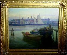 "Andrew Thomas Schwartz (American,1867-1942) Oil Painting ""East River, NY 1897"""