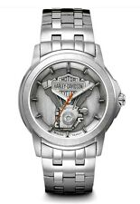 Harley-Davidson® Bulova Men's Steel Bar & Shield V-twin Medallion Watch 76A021