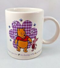"""WINNIE the POOH & PIGLET MUG Cup """"A Bother-free Day"""" Bees Ladybug 8 oz. DISNEY"""