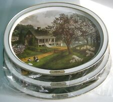 NEW Lot of 3 SPRING CURRIER & IVES Metal Tray Platter American Homestead VINTAGE