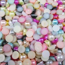 NEW 100pcs Mix Half Pearl Bead Flat Back 8mm Scrapbook for Craft FlatBack 18