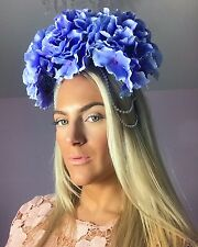 Big Blue Hydrangea Dangling Diamond Pearl Hair Head Alice Band Choochie Choo