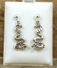 Sterling Silver Dragon Charms on Sterling Silver Ball Post Stud Earrings -  0791