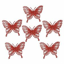 Luxury Christmas Tree Glitter Bauble Decorations - Butterfly x 6