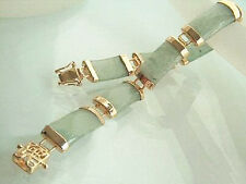 Natural Light Green Jade Yellow Gold Plated Fortune Link Clasp Bracelet
