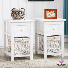 Pair of Retro White Chic Nightstand End Side Bedside Table w/Wicker Storage Wood