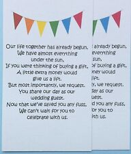 50 Small Wedding Gift Poem Cards asking for Money~ Bunting free postage in may