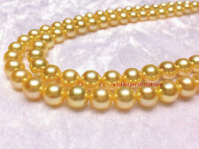 """LONG AAAAA 36""""9-10MM real natural south sea golden Yellow pearl necklace 14K"""