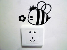 1 Pcs Black Switch Sticker Bee and Flower Pattern Bedroom Parlor Wall Sticker