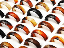 10PCS Wholesale Lots  Natural Agate Gemstone Jewelry Band Rings Gift 5mm-6mm