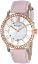 New Ladies  KENNETH COLE NY Gold & Pink MOP Dial Leather Watch KC2845 RP£115