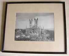 Very Old Framed Black and White Photograph of Lincoln Cathedral