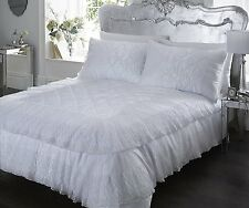 KING SIZE DUVET COVER SET LUXURIOUS LACE DETAIL POLYCOTTON WHITE ELEGANCE
