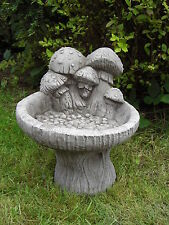 MUSHROOM BIRD BATH FEEDER TABLE Hand Cast Stone Garden Ornament ⧫onefold-uk