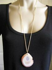 $18 Carole Large Agate Natural Stone Slice Pendant Necklace Goldtone Chain 34""