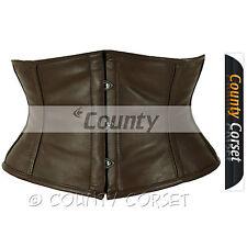 Shaper Cincher MINI Vestaglia Completo In acciaio steccato Sexy reale SOFT marrone pelle stile corsetto