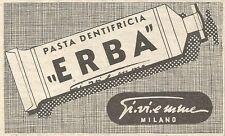 Y3165 Pasta dentifricia ERBA Gi.vi.emme - Pubblicità del 1939 - Old advertising