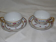 Bernardaud Limoges THE FONTENAY Pink Roses Blue Flowers 2 Cup & Saucer Sets