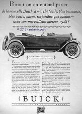 PUBLICITE AUTOMOBILE BUICK COUPE DECAPOTABLE DE 1927 FRENCH AD PUB ART DECO