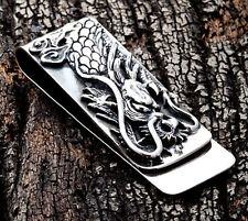 ENGRAVED DRAGON SOLID 925 STERLING SILVER MONEY CLIP BILL HOLDER NEW MENS
