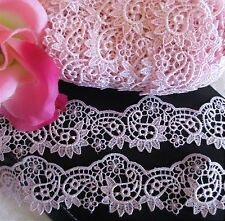 Pretty Pink color =  Vintage embroidery lace trim   - price for 1 yard