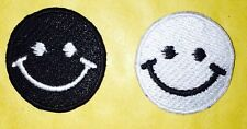 10963 smiley face black and white  Embroidered Iron On  Patch emo 2 piece set