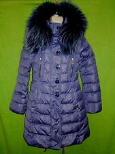 Violanti puffer quilted coat jacket goose down purple hood fur trim size M / 42