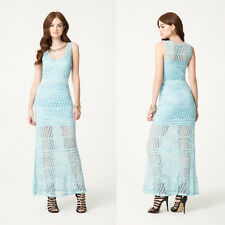 BEBE BLUE NECKLACE CROCHET POINTELLE MAXI DRESS NWT NEW SMALL S