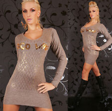 Sexy Miss Long Pullover V Pulli Strick Mini Kleid gold pailletten 34/36/38 braun