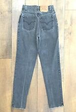 Vtg 90s LEVIS 512 DISTRESSED BLACK JEANS Slim Fit Tapered Leg USA MADE Sz 7 MED