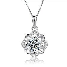 """18"""" Chain 925 Silver Hibiscus Flower Pendant Necklace Cubic Zirconia Gift Box S6"""