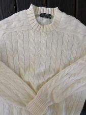 BROOKS BROTHERS Shetland wool ivory cable knit crewneck sweater 42