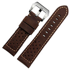 22mm Brown Assolutamente Leather Perforated Racing Watch Strap Band Pre-V Buckle