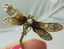 Superb arts and crafts ruby diamond 18ct gold plique a jour dragonfly brooch pin
