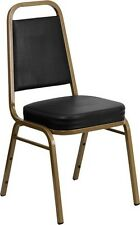Commercial Quality Stackable Banquet Chairs With Black Color Vinyl / Gold Vein