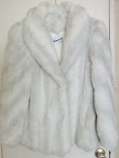 Vintage Women's Donnybrook Faux White Silver Fox Fur Coat Size 14 Hollywood Glam