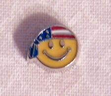 Patriotic Smiley Face Floating Locket Charm - Silver-tone - NEW