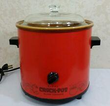 Vintage 70s RIVAL 3100/2 Red Orange Ceramic 3.5 QT Crock Pot Slow Cooker