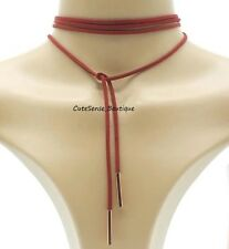 Lariat String Choker Retro Necklace RED with ROSE GOLD TIPS